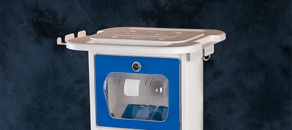 Medical Cart Protected from Liquid Spills with Overhang