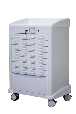 Custom Medication Cart with Lockable Drawers - Lakeside